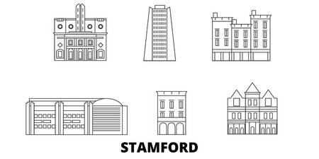 United States, Stamford line travel skyline set. United States, Stamford outline city vector panorama, illustration, travel sights, landmarks, streets.