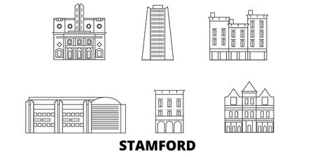 Vereinigte Staaten, Stamford Line Reisen Skyline. Vereinigte Staaten, Stamford umreißen Stadtvektorpanorama, Illustration, Reisesehenswürdigkeiten, Sehenswürdigkeiten, Straßen.