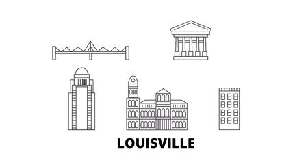 United States, Louisville line travel skyline set. United States, Louisville outline city vector panorama, illustration, travel sights, landmarks, streets.