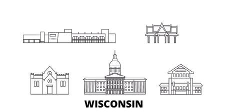United States, Madison line travel skyline set. United States, Madison outline city vector panorama, illustration, travel sights, landmarks, streets. Illustration