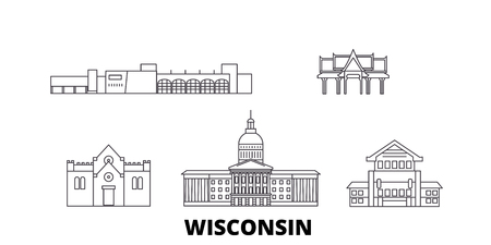 United States, Madison line travel skyline set. United States, Madison outline city vector panorama, illustration, travel sights, landmarks, streets. 向量圖像