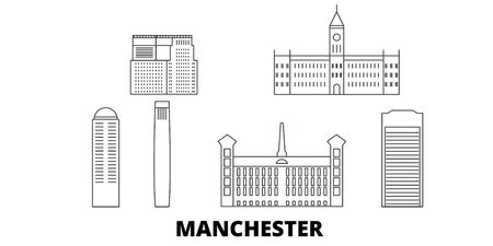 United States, Manchester line travel skyline set. United States, Manchester outline city vector panorama, illustration, travel sights, landmarks, streets.