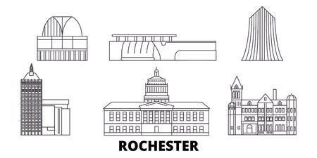 United States, New York Rochester line travel skyline set. United States, New York Rochester outline city vector panorama, illustration, travel sights, landmarks, streets. 스톡 콘텐츠 - 123897230