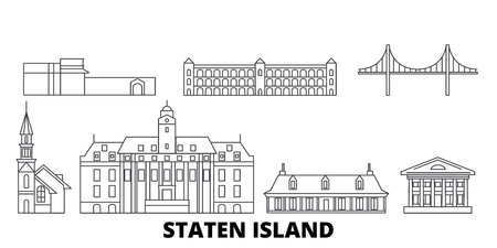 United States, New York Staten Island line travel skyline set. United States, New York Staten Island outline city vector panorama, illustration, travel sights, landmarks, streets. Illustration