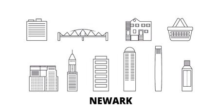 United States, Newark line travel skyline set. United States, Newark outline city vector panorama, illustration, travel sights, landmarks, streets.
