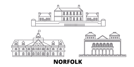United States, Norfolk line travel skyline set. United States, Norfolk outline city vector panorama, illustration, travel sights, landmarks, streets.