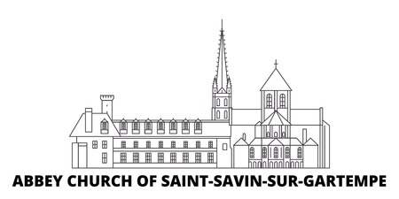 France, Abbey Church Of Saint Savin Sur Gartempe Landmark line travel skyline set. France, Abbey Church Of Saint Savin Sur Gartempe Landmark outline city vector panorama, illustration, travel sights, landmarks, streets. Ilustração