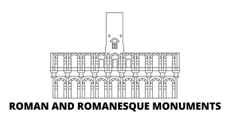 France, Arles, Roman And Romanesque Monuments Landmark line travel skyline set. France, Arles, Roman And Romanesque Monuments Landmark outline city vector panorama, illustration, travel sights, landmarks, streets.