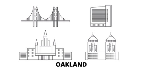 United States, Oakland line travel skyline set. United States, Oakland outline city vector panorama, illustration, travel sights, landmarks, streets. Standard-Bild - 123897233