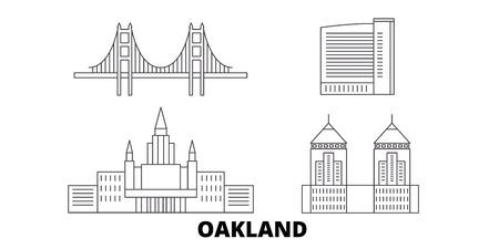 Verenigde Staten, Oakland lijn reizen skyline set. Verenigde Staten, Oakland overzicht stad vector panorama, illustratie, reizen bezienswaardigheden, oriëntatiepunten, straten.