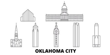 United States, Oklahoma City line travel skyline set. United States, Oklahoma City outline city vector panorama, illustration, travel sights, landmarks, streets.