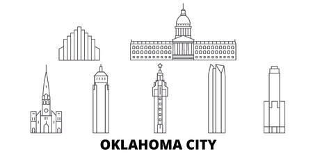 United States, Oklahoma City line travel skyline set. United States, Oklahoma City outline city vector panorama, illustration, travel sights, landmarks, streets.