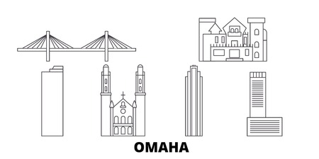 United States, Omaha line travel skyline set. United States, Omaha outline city vector panorama, illustration, travel sights, landmarks, streets.