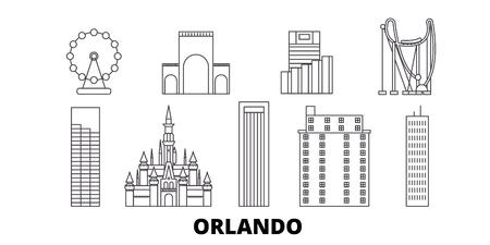 United States, Orlando line travel skyline set. United States, Orlando outline city vector panorama, illustration, travel sights, landmarks, streets.  イラスト・ベクター素材