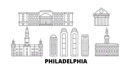 Stany Zjednoczone, Filadelfia linia panoramę podróży zestaw. Stany Zjednoczone, Filadelfia zarys wektor panorama miasta, ilustracja, zabytki podróży, zabytki, ulice.