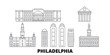 United States, Philadelphia line travel skyline set. United States, Philadelphia outline city vector panorama, illustration, travel sights, landmarks, streets.