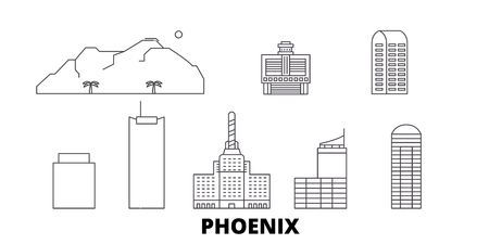 United States, Phoenix line travel skyline set. United States, Phoenix outline city vector panorama, illustration, travel sights, landmarks, streets. Illustration