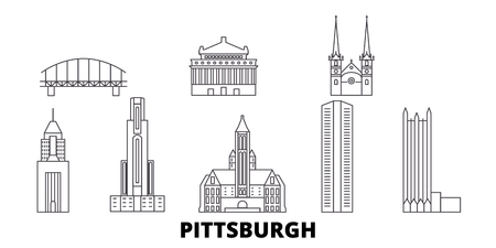 United States, Pittsburgh line travel skyline set. United States, Pittsburgh outline city vector panorama, illustration, travel sights, landmarks, streets.