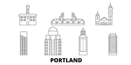 United States, Portland line travel skyline set. United States, Portland outline city vector panorama, illustration, travel sights, landmarks, streets.