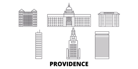 United States, Providence line travel skyline set. United States, Providence outline city vector panorama, illustration, travel sights, landmarks, streets.