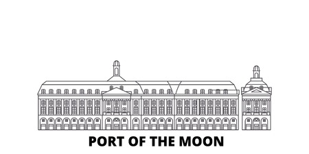 France, Bordeaux, Port Of The Moon Landmark line travel skyline set. France, Bordeaux, Port Of The Moon Landmark outline city vector panorama, illustration, travel sights, landmarks, streets.