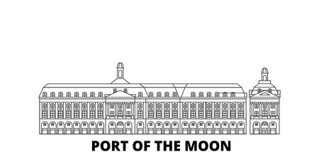 Francia, Bordeaux, porto della luna Landmark linea skyline di viaggio impostato. Francia, Bordeaux, porto della luna Landmark outline vettore città panorama, illustrazione, siti di viaggi, punti di riferimento, strade. Vettoriali