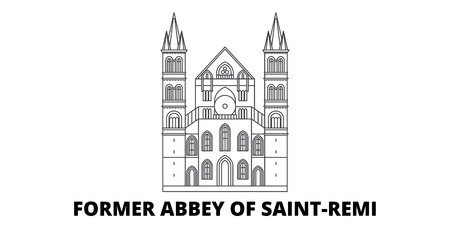 France, Former Abbey Of Saint Remi Landmark line travel skyline set. France, Former Abbey Of Saint Remi Landmark outline city vector panorama, illustration, travel sights, landmarks, streets.