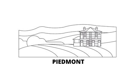 Italy, Piedmont, Langhe Roero And Monferrato  line travel skyline set. Italy, Piedmont, Langhe Roero And Monferrato  outline city vector panorama, illustration, travel sights, landmarks, streets.