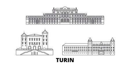 Italy, Turin, Residences Of The Royal House Of Savoy line travel skyline set. Italy, Turin, Residences Of The Royal House Of Savoy outline city vector panorama, illustration, travel sights, landmarks, streets. Stock Vector - 120657178