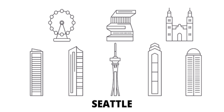United States, Seattle line travel skyline set. United States, Seattle outline city vector panorama, illustration, travel sights, landmarks, streets. 일러스트