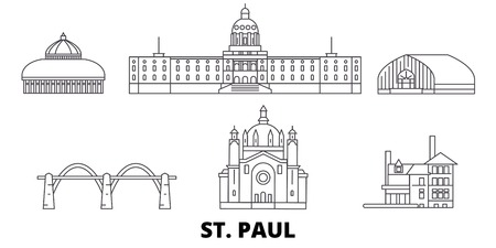 United States, St. Paul line travel skyline set. United States, St. Paul outline city vector panorama, illustration, travel sights, landmarks, streets.