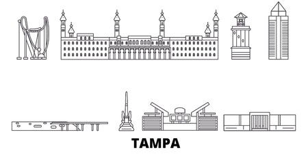 United States, Tampa line travel skyline set. United States, Tampa outline city vector panorama, illustration, travel sights, landmarks, streets.  イラスト・ベクター素材