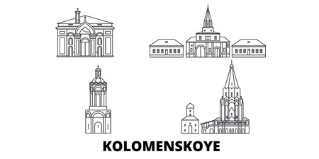 Russia, Kolomenskoye, Church Of The Ascension line travel skyline set. Russia, Kolomenskoye, Church Of The Ascension outline city vector panorama, illustration, travel sights, landmarks, streets. Illustration