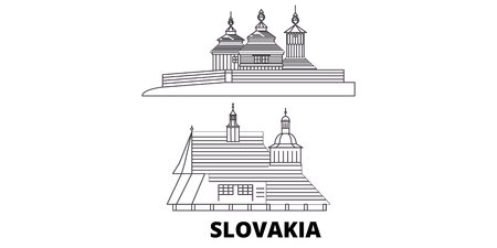 Slovakia, Wooden Churches In The Carpathian Mountain Area line travel skyline set. Slovakia, Wooden Churches In The Carpathian Mountain Area outline city vector panorama, illustration, travel sights, landmarks, streets.