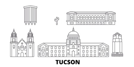 United States, Tucson line travel skyline set. United States, Tucson outline city vector panorama, illustration, travel sights, landmarks, streets. 矢量图像