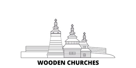 Poland, Wooden Churches In The Carpathian Mountain Area line travel skyline set. Poland, Wooden Churches In The Carpathian Mountain Area outline city vector panorama, illustration, travel sights, landmarks, streets.