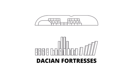 Romania, Dacian Fortresses, Orastie Mountains line travel skyline set. Romania, Dacian Fortresses, Orastie Mountains outline city vector panorama, illustration, travel sights, landmarks, streets.
