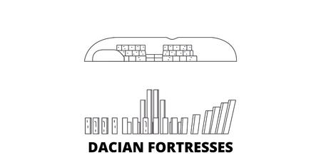 Romania, Dacian Fortresses, Orastie Mountains line travel skyline set. Romania, Dacian Fortresses, Orastie Mountains outline city vector panorama, illustration, travel sights, landmarks, streets.