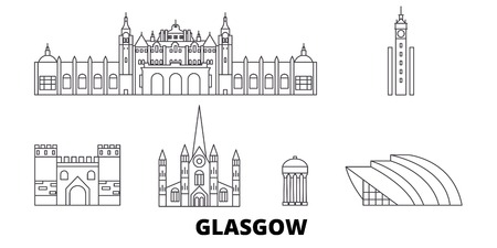 Scotland, Glasgow City line travel skyline set. Scotland, Glasgow City outline city vector panorama, illustration, travel sights, landmarks, streets.
