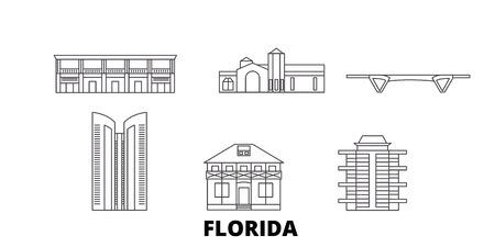 United States, Fort Lauderdale line travel skyline set. United States, Fort Lauderdale outline city vector panorama, illustration, travel sights, landmarks, streets. Illustration