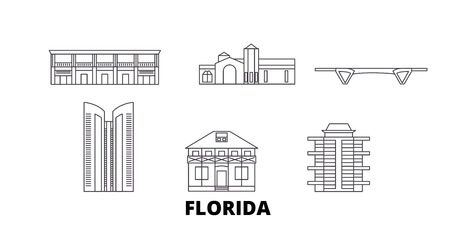 United States, Fort Lauderdale line travel skyline set. United States, Fort Lauderdale outline city vector panorama, illustration, travel sights, landmarks, streets.  イラスト・ベクター素材