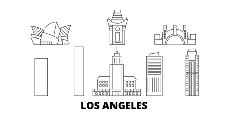 United States, Los Angeles City line travel skyline set. United States, Los Angeles City outline city vector panorama, illustration, travel sights, landmarks, streets.