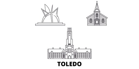 United States, Toledo line travel skyline set. United States, Toledo outline city vector panorama, illustration, travel sights, landmarks, streets. Ilustração