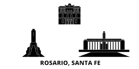 Argentina, Rosario flat travel skyline set. Argentina, Rosario black city vector panorama, illustration, travel sights, landmarks, streets.