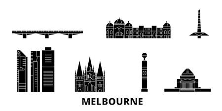 Australia, Melbourne flat travel skyline set. Australia, Melbourne black city vector panorama, illustration, travel sights, landmarks, streets.