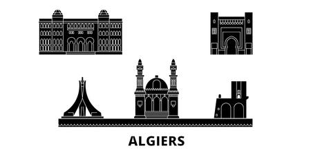 Algiers flat travel skyline set. Algiers black city vector panorama, illustration, travel sights, landmarks, streets. Illustration