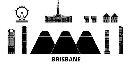Australia, Brisbane flat travel skyline set. Australia, Brisbane black city vector panorama, illustration, travel sights, landmarks, streets.