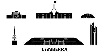Australia, Canberra flat travel skyline set. Australia, Canberra black city vector panorama, illustration, travel sights, landmarks, streets. Illustration