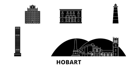 Australia, Hobart flat travel skyline set. Australia, Hobart black city vector panorama, illustration, travel sights, landmarks, streets.  イラスト・ベクター素材