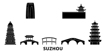 China, Suzhou flat travel skyline set. China, Suzhou black city vector panorama, illustration, travel sights, landmarks, streets. Stock fotó - 123844372